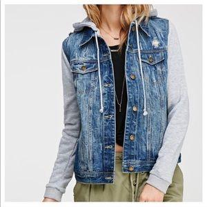 Life In Progress distressed denim jacket/hoodie